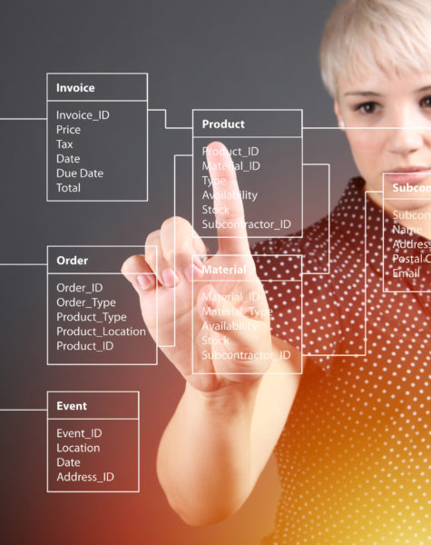 Database Table technical concept with woman worker pointing screen
